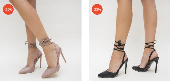 Sandale cu snur negre, nude moderne si frumoase ieftine