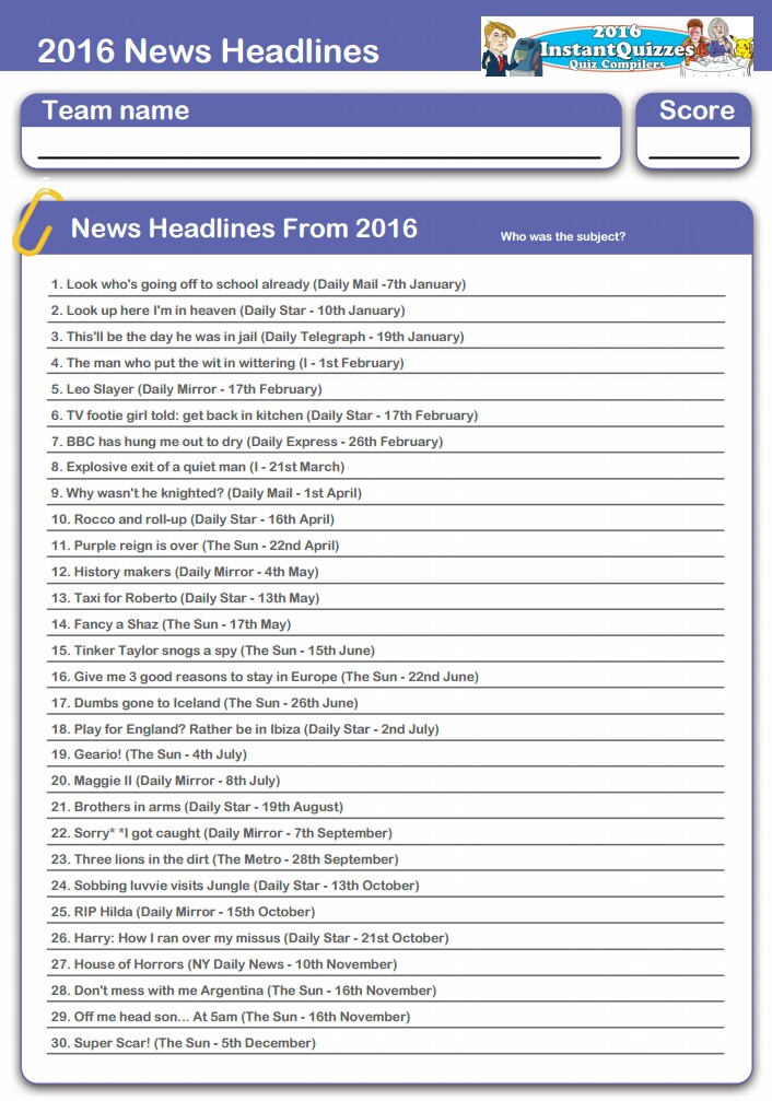 2016 headline news printable quiz publicscrutiny Choice Image