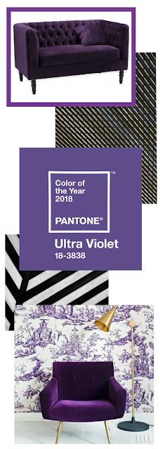 Butaca y sofá de terciopelo Pantone 2018 Ultra Violet
