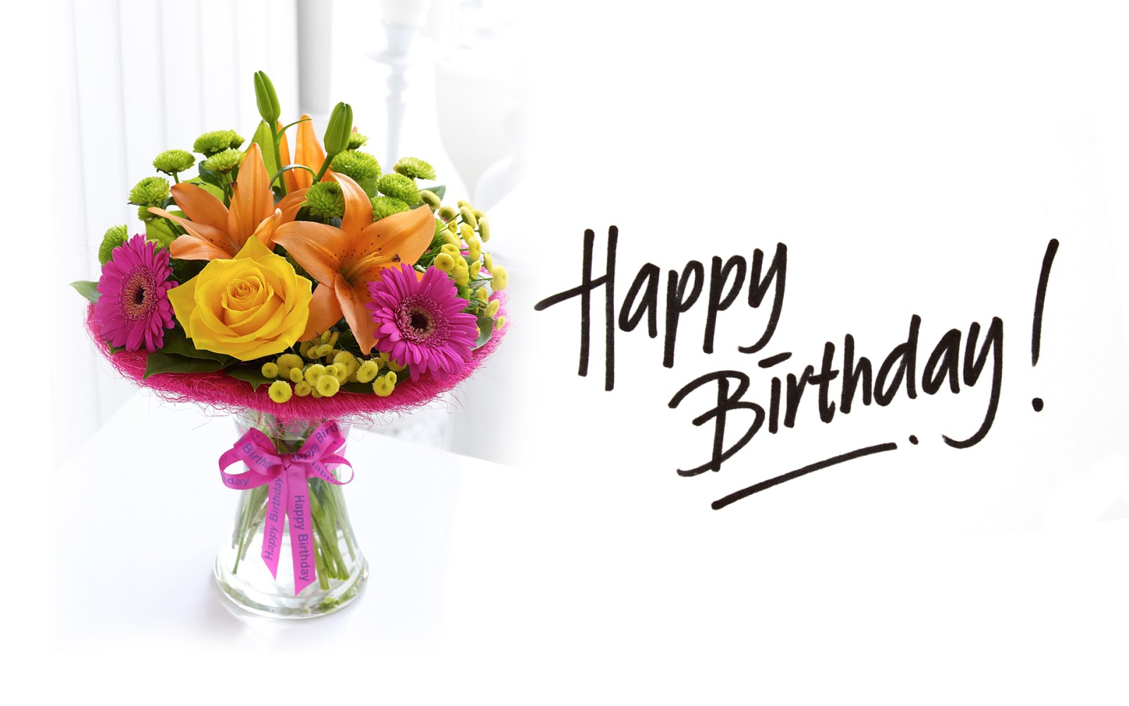 Wish you a very happy birthday words texted wishes card images beautiful happy birthday bouquet of flowers hd wallpaper izmirmasajfo Choice Image