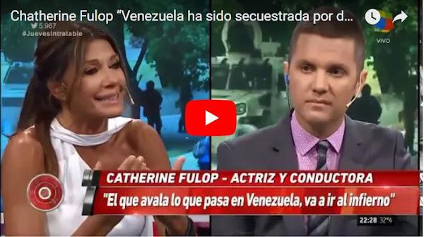 Catherine Fullop llorando por Venezuela en un programa de TV