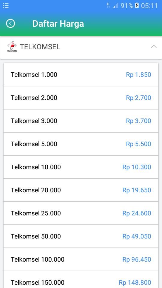 Daftar Harga Agen Pulsa Termurah Telkomsel