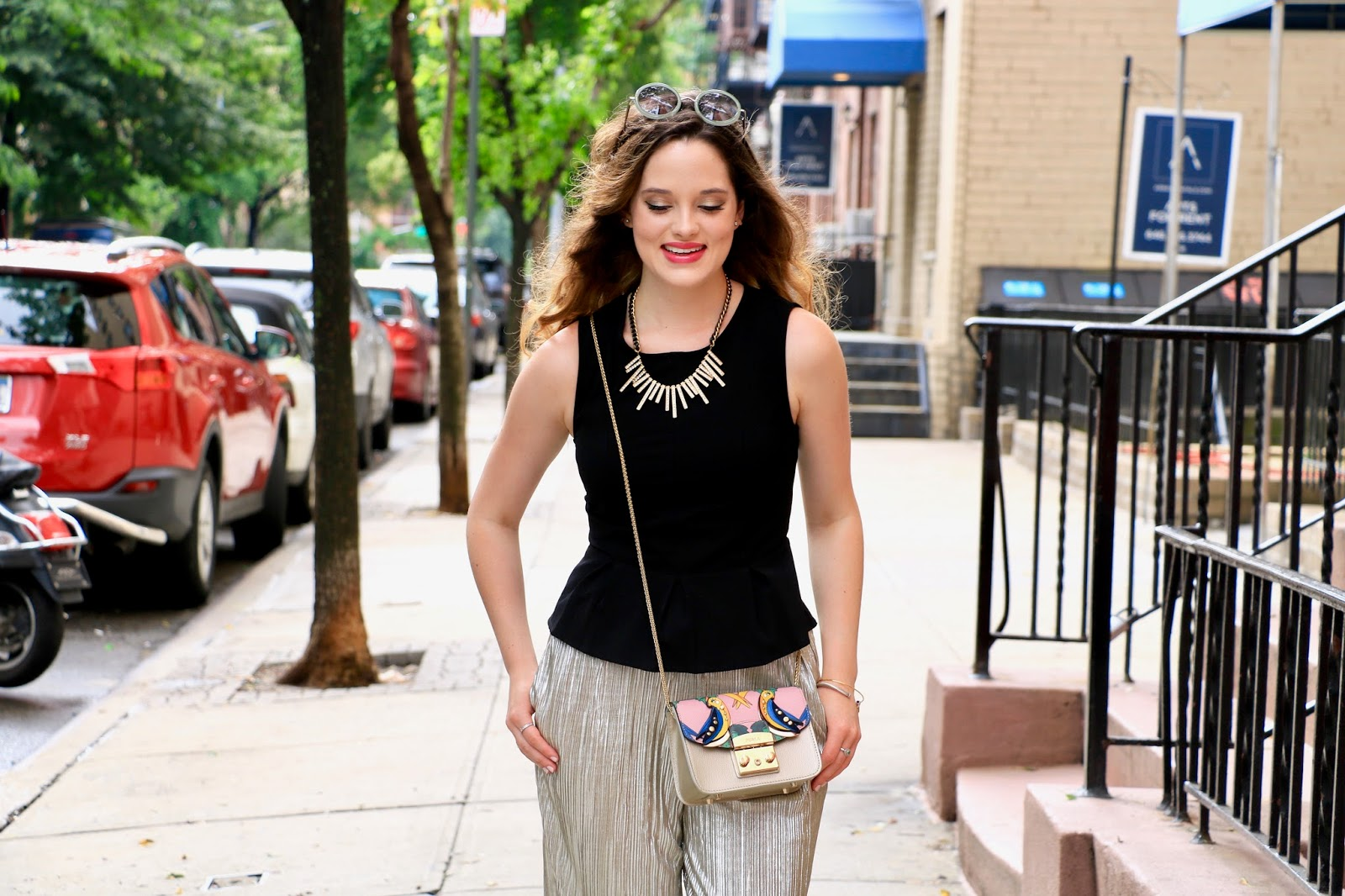 nyc fashion blogger Kathleen Harper wearing black peplum top for summer