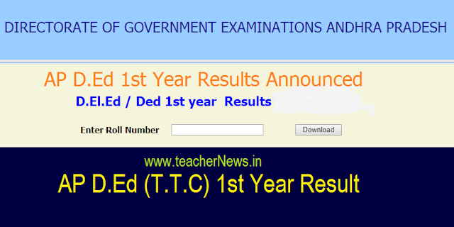 AP D.Ed 1st year Results 2018 - Check AP AP D.El.Ed First Year Recounting Fee at bseap.org