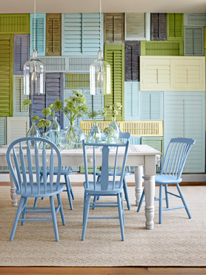 My favorite wall of shutters is over at & 25 Repurposed Shutter Decorating Ideas - The Cottage Market
