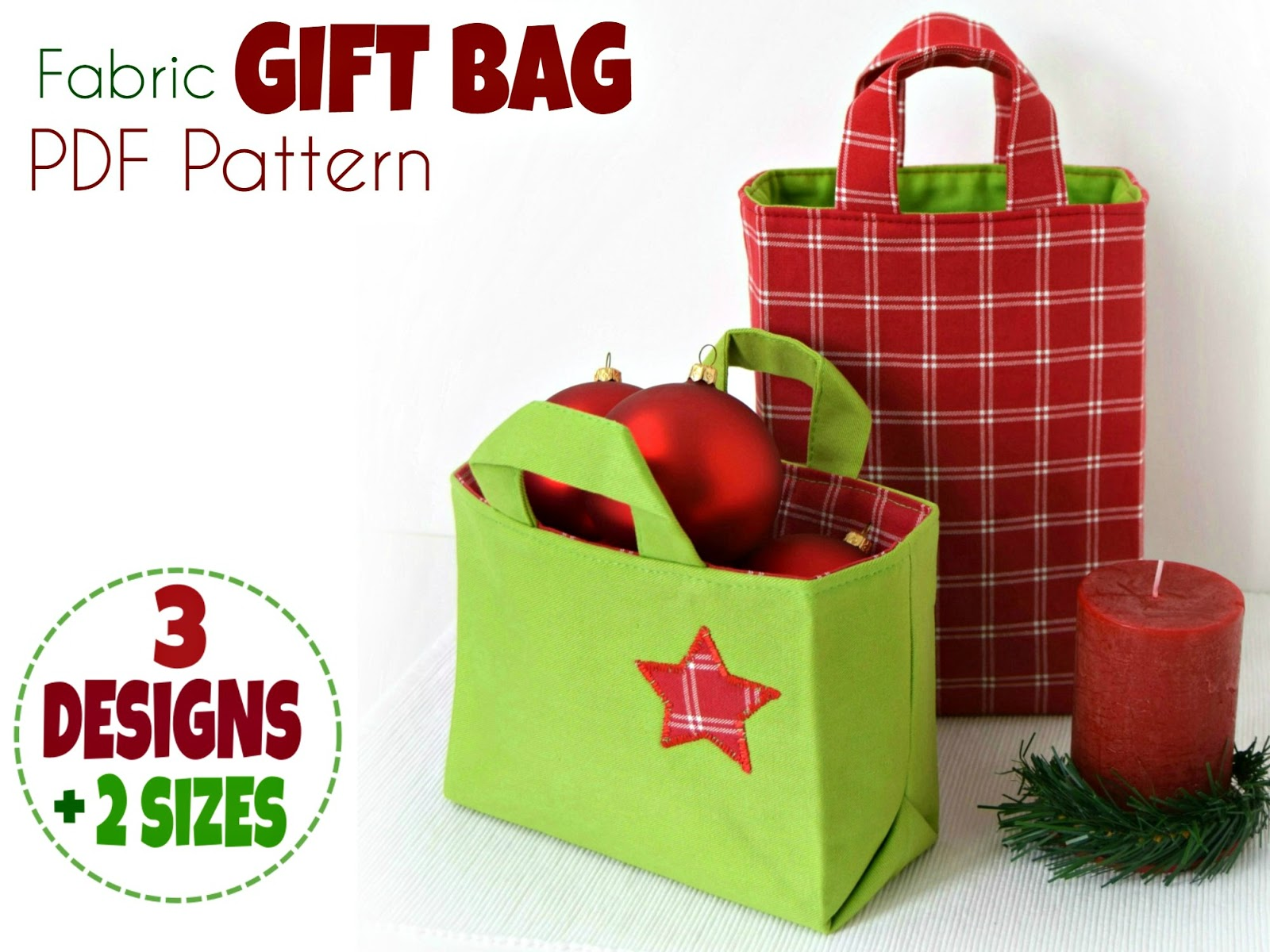 Fabric Gift Bag PDF PATTERN - new release