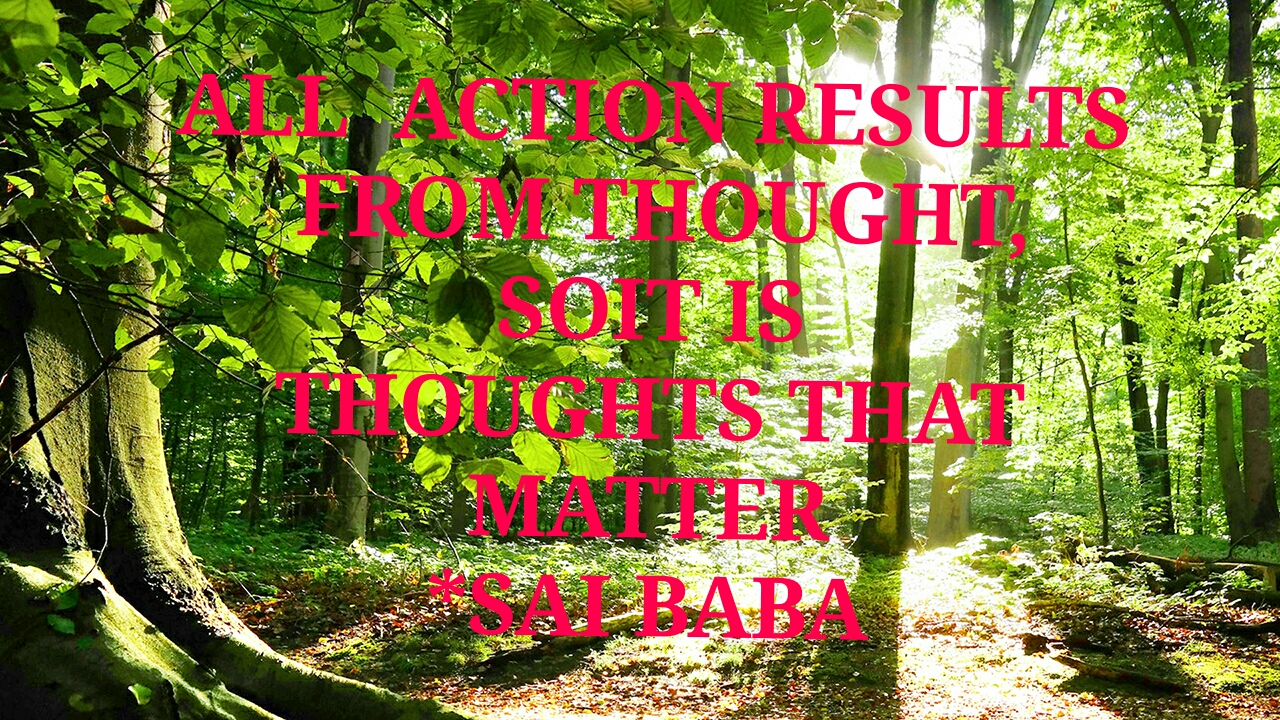 All ACTION RESULTS FROM  THOUGHT, SOIT IS THOUGHTS  THAT MATTER. -SAI BABA