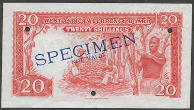 British West Africa banknotes currency Shillings
