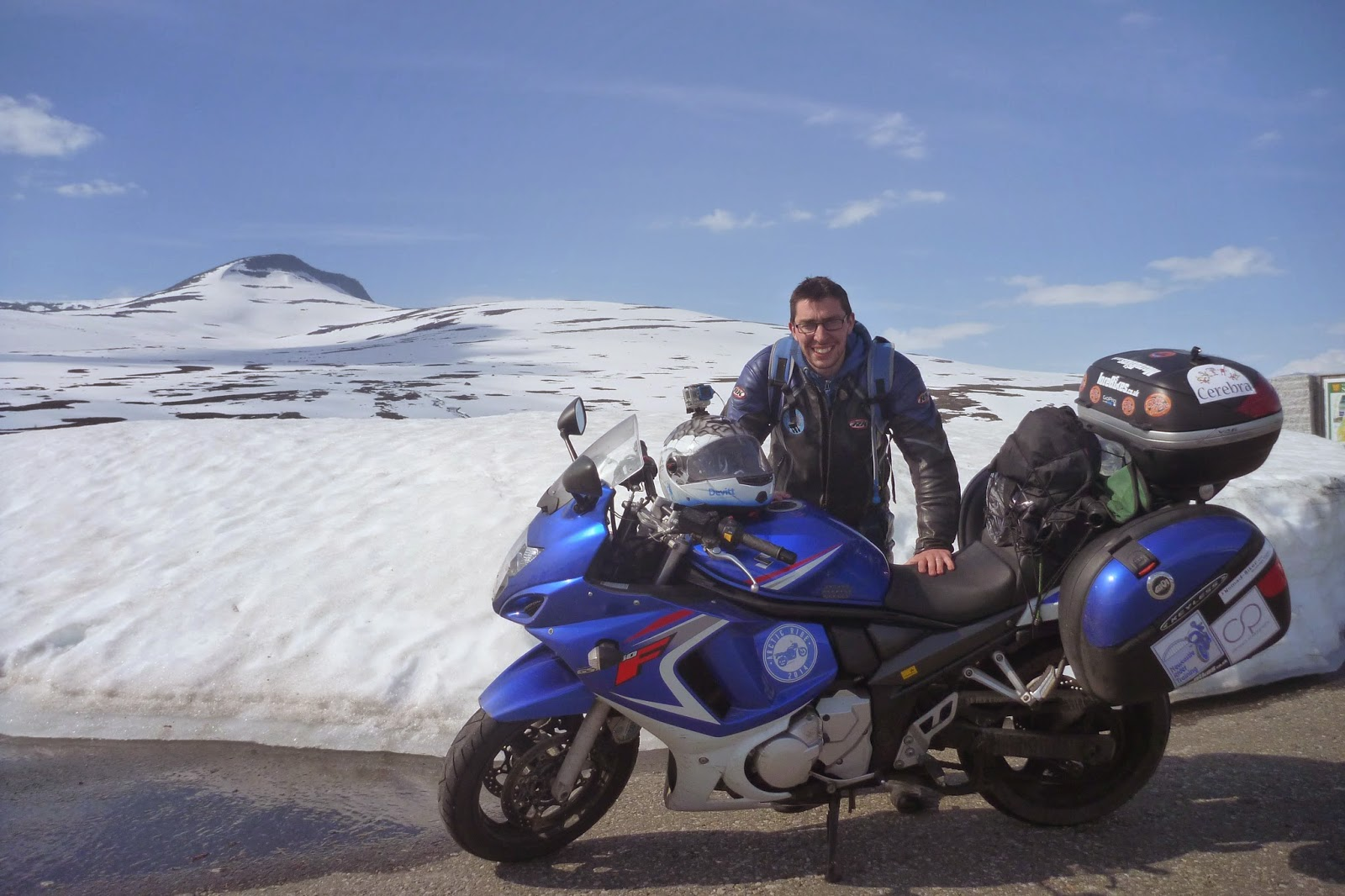 hight resolution of my gsx 650f and i at the arctic circle in norway