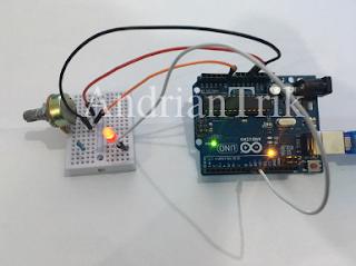 mengatur kecerahan led dengan potensiometer di arduino
