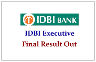 IDBI Executive- Final Result Out Check Here