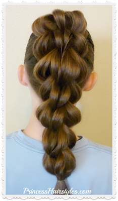 3 strand pull through braid video instructions.  Cute hairstyle for sports.