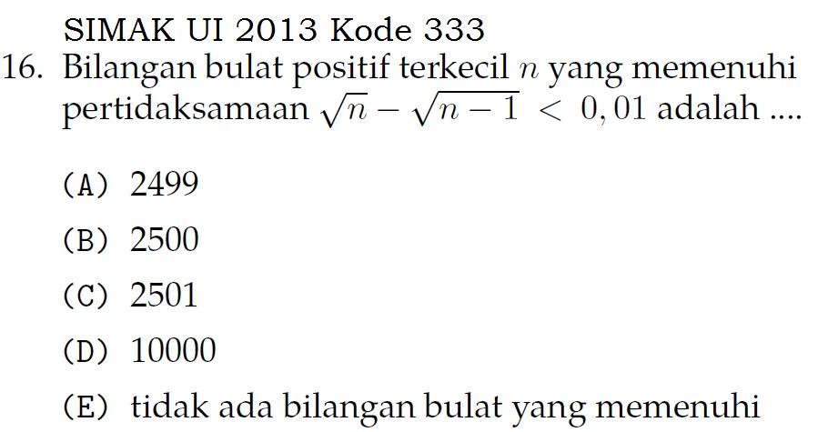 Eksplorasi di Matematika (Contoh Soal SIMAK UI 2013)