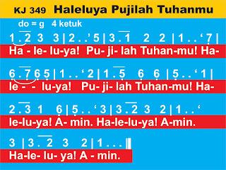 Lirik dan Not Kidung Jemaat 349 Haleluya, Pujilah TuhanMu