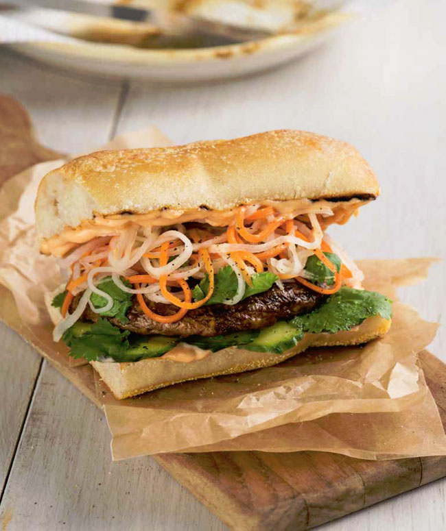 Bánh Mì Portobello Burgers recipe from DK's Plant-Based Cookbook - whole foods, vegan and delicious sandwich with a tasty zing of flavors