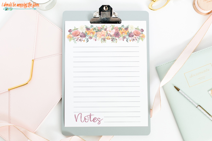 Floral Printable Notes Page