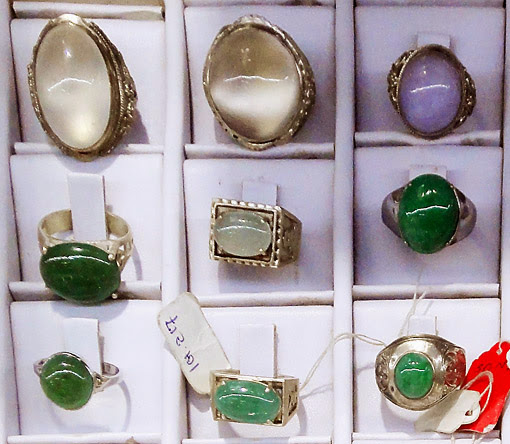 Different versions and colors of jade rings