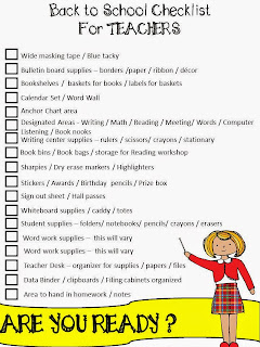 Image result for back to school checklist for teachers