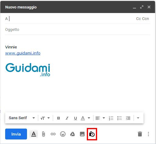 Gmail Nuovo messaggio pulsante Modalità riservata