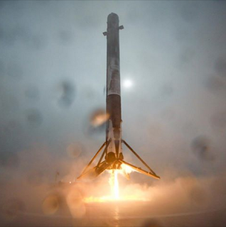 Space X rocket just before attempted landing