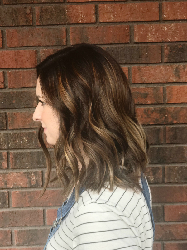 beauty bag, beauty products, balayage hair color, long bob, shadowed roots, short hair style, hair style, north carolina blogger
