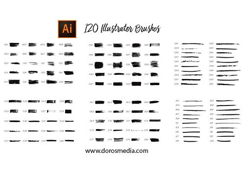 اضافات ادوبي الستريتر فرش منوعة ومميزة لبرنامج الأدوبي الستريتر لاغراض التصميم المتخلفة  120 Illustrator Brushes Free