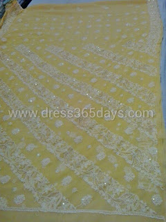 Yellow Chikankari Saree