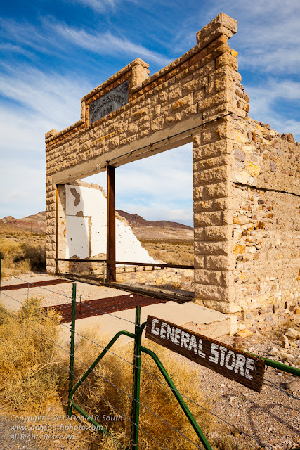 a photograph of the rhyolite ghost town in nevada near death valley national park