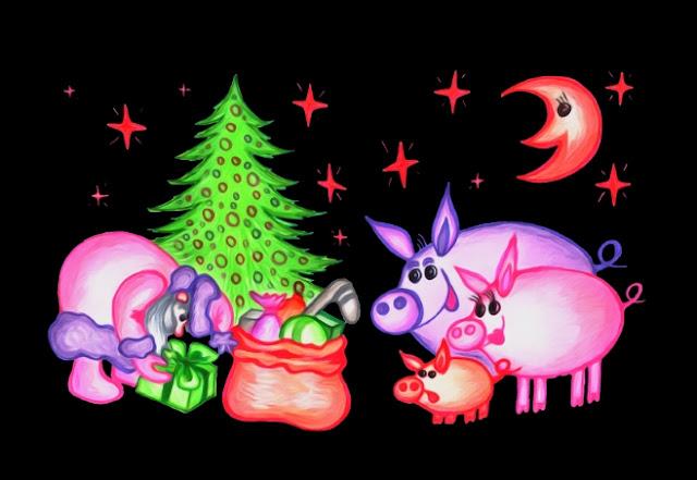 """Новогодняя открытка """"Внезапная встреча"""", дурацкий рождественский свитер, фотопечать, принтшоп, сувениры, подарки, новый год, год свиньи, три поросенка, дед мороз"""