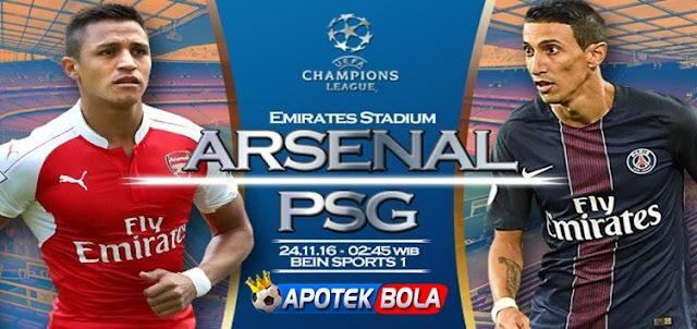 Prediksi Pertandingan Arsenal vs Paris Saint Germain 24 November 2016