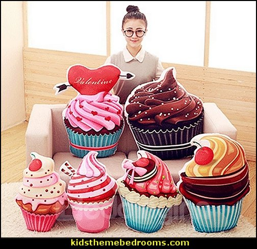 Cupcake Shape pillows  cupcakes bedroom ideas - cupcakes theme candy decorating candyland sweets - cupcake bedding - cupcake decor - candy decor -  Ice Cream decor - cupcakes and candy bedroom ideas - candy theme bedroom - cupcakes and candy decor - Candy party props - Candy party decorations - candyland gingerbread decorations