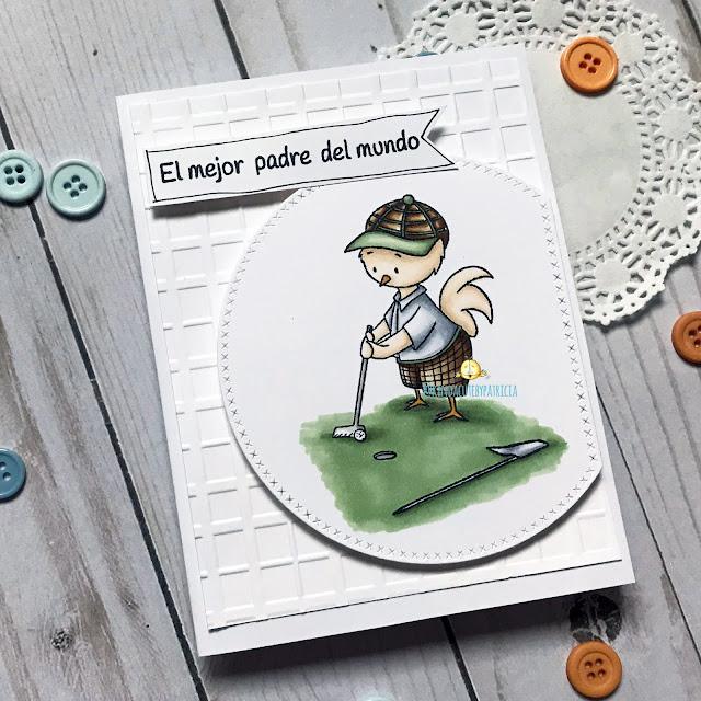 tarjeta del dia del padre con un pollo jugando al golf