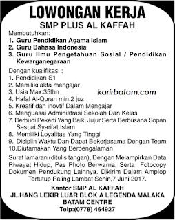Lowongan Kerja SMP Al Kaffah Legenda Malaka Batam