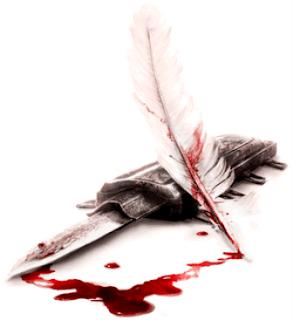 Daga y pluma ensangrentadas