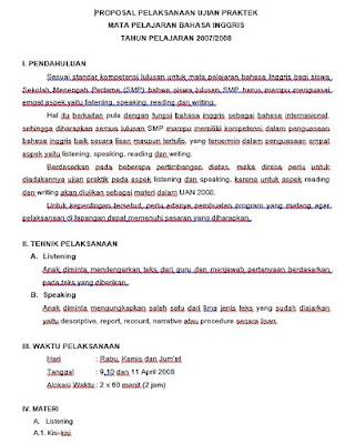 kisi kisi dan proposal ujian praktek bahasa inggris SMP