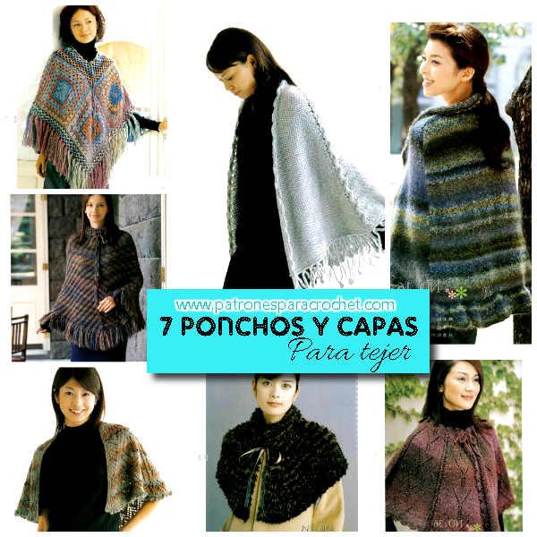 patrones gráficos de ponchos y capas para tejer
