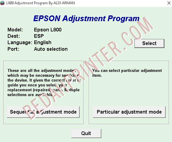 Cara Reset Epson L800