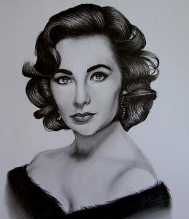 رسومات بسيطة بالرصاص لـ إليزابيث تايلور