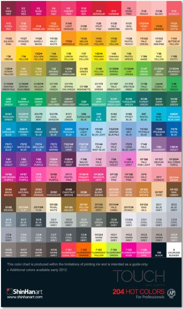 ShinHan Twin Touch Color Chart