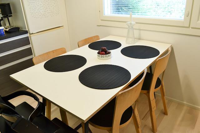 Saippuakuplia olohuoneessa- blogi, Kuva Hanna Poikkilehto, keittiö, puustelli, pinnoitettu vaneri, vaneri pöytä, Artek, 66 tuolit, Stokke Tripp Trapp, Design letters,