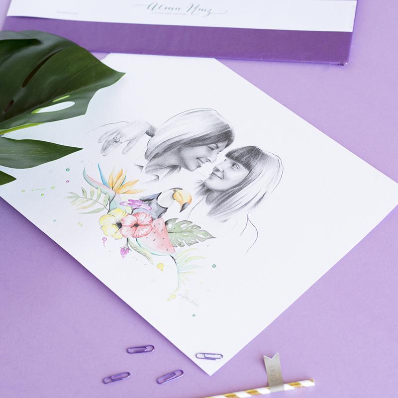 Retratos personalizados por encargo a lápiz y acuarela
