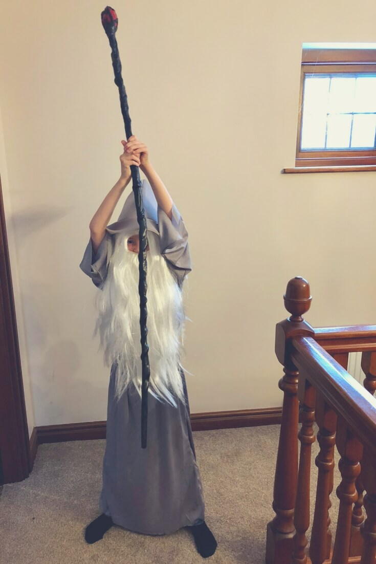 "A young boy (about 8 years old) is dressed in a Gandalf costume. He wears a grey cloak and a grey hat, he has a long white beard reaching to his knees and has long white hair the same length. He holds a wizard's staff in the air with both hands ready to bring it down to the ground. Image for ""Post Comment Love 2nd - 4th March"""