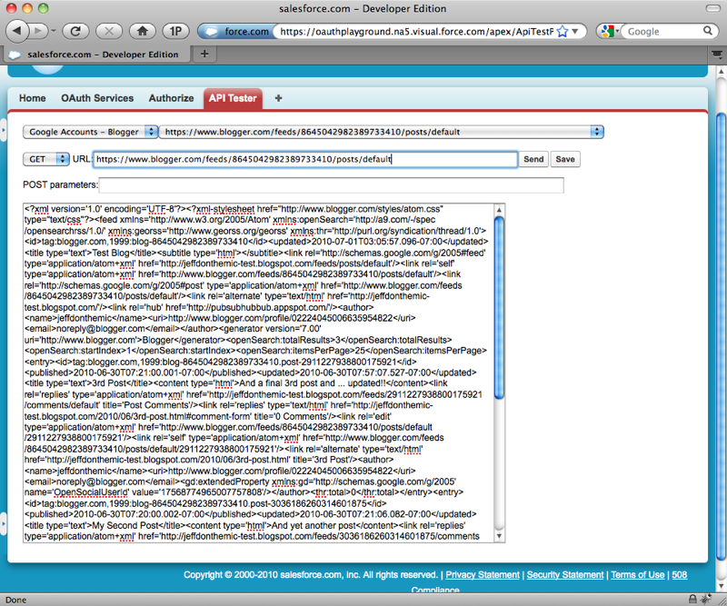 Using the Salesforce com OAuth Playground