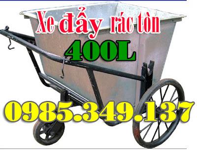 xe đẩy rác tôn 400 lít