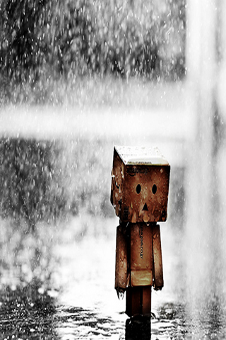 Animated Cartoon Wallpaper Sad Amazon Box Man Walking Under Rain Iphone Wallpaper