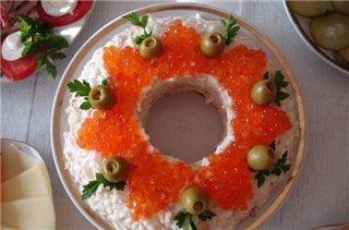 икра, икра красная, креветки, салат рыбный, салат с икрой, салат с креветками, салат с семгой, салаты, салаты праздничные, сёмга