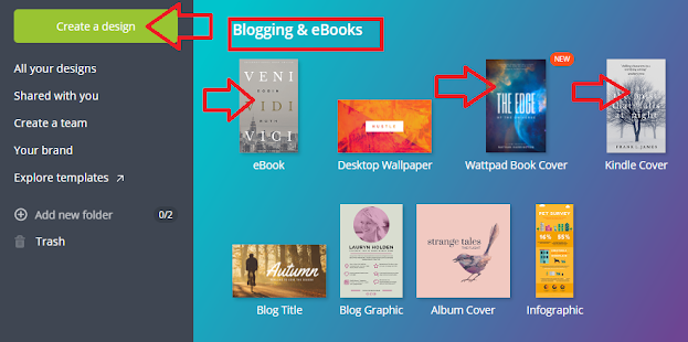 Screenshot: Select the the type of book cover you want