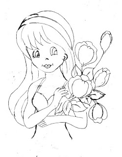 desenho para pintar esta boneca com tulipas em pano de prato