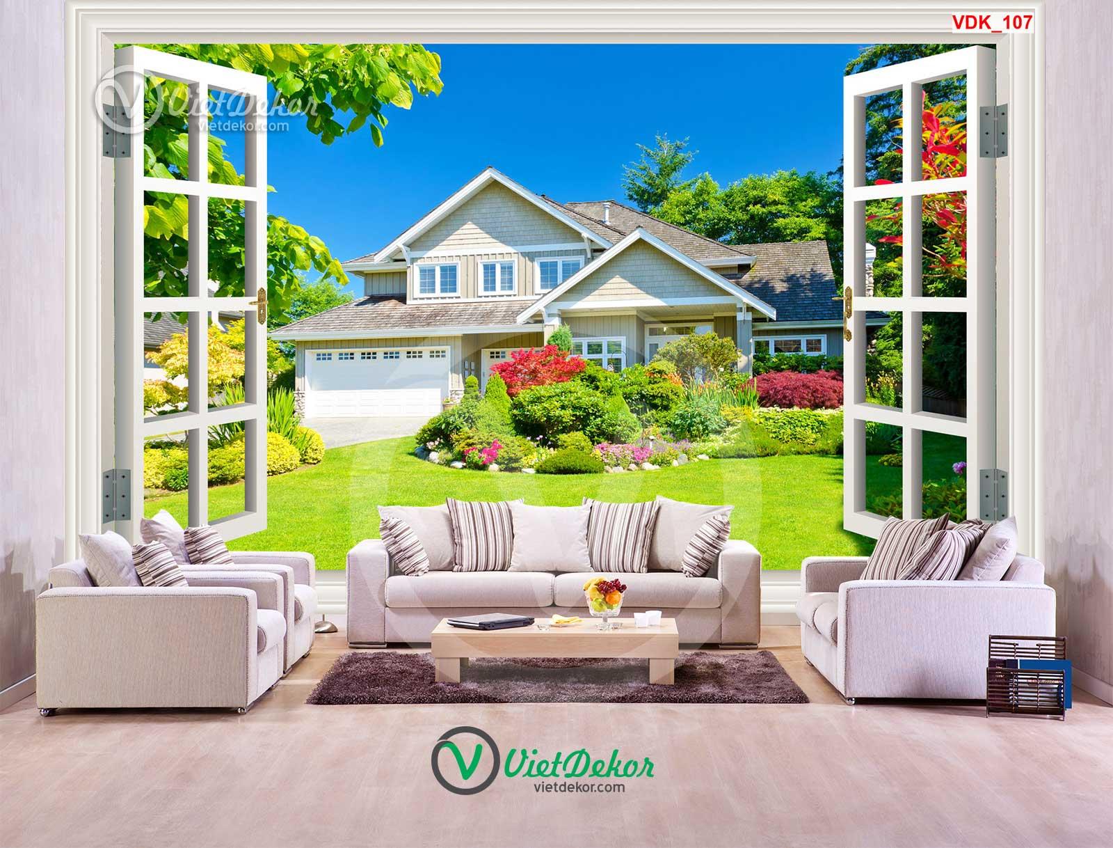 Tranh dán tường 3d cửa sổ phong cảnh