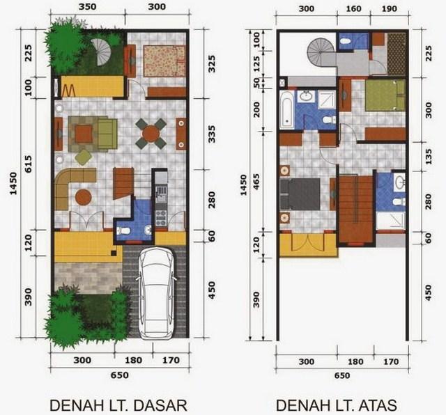 Contoh denah rumah minimalis type 36 2 lantai